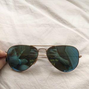 Ray ban, gold frames, blue reflective lens